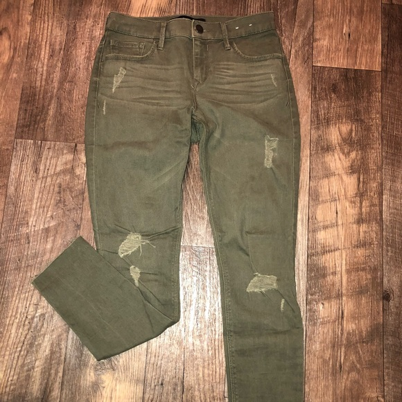 Express Denim - Olive green distressed jeans